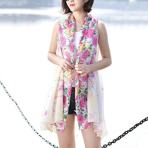 Pastel Yellow with Pink Flower Border Scarf Vest