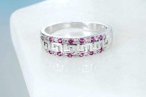 Sparkling Fuchsia Greek Key Ring