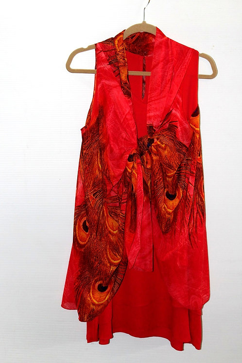 Rich Orange Red with Yellow/Black Peacock Feathers Scarf Vest