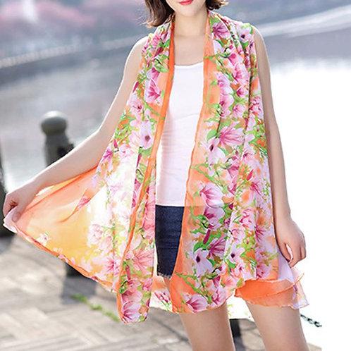 Orange with Pink Flower Border Scarf Vest