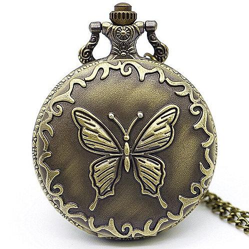 Bronze Butterfly Large Pocket Watch