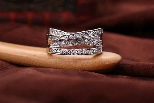 Crossover Bands Silver Ring