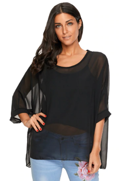 Black Batwing Sleeve Blouses