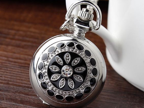 Black Flower Small Pocket Watch