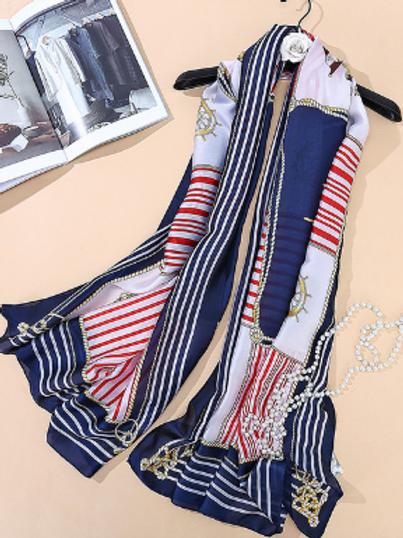 Nautical Striped Scarf - Navy
