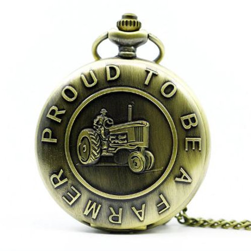 Proud to Be A Farmer Large Pocket Watch
