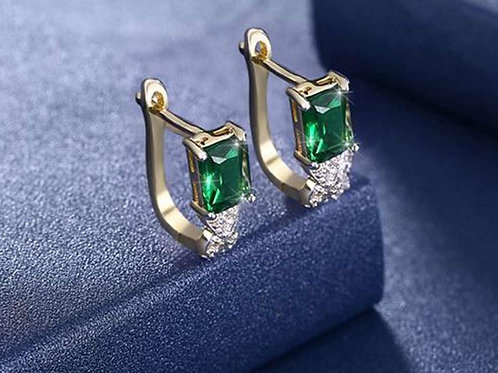 Emerald Cut Noble Huggie Earrings