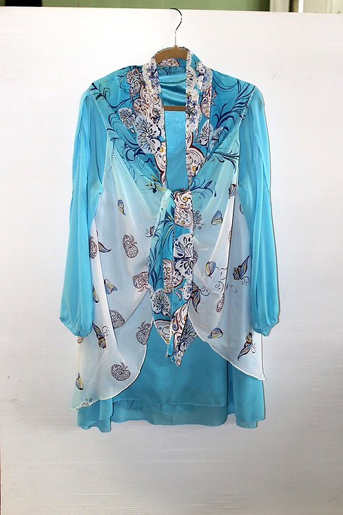Turquoise & White with Black Print Scarf Vest