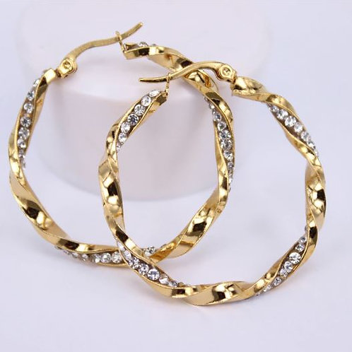 Encrusted Twisted Gold Hoops