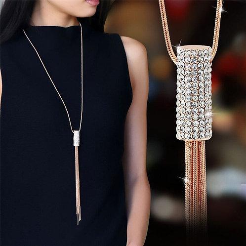 Rose Gold Tassel Sweater Necklace