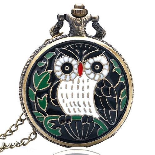 Black Mosaic Owl Large Pocket Watch