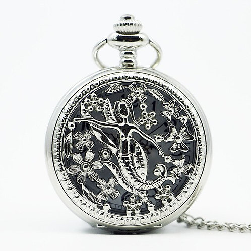 Silver Mermaid Large Pocket Watch