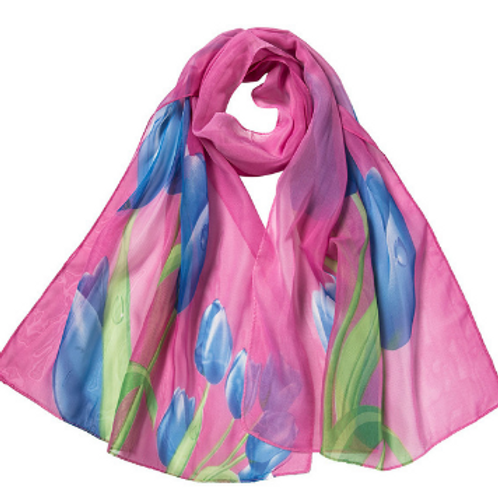 Spring Tulips Scarf - Pink & Blue