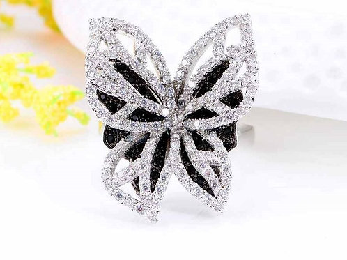 Butterfly in Black & White Ring