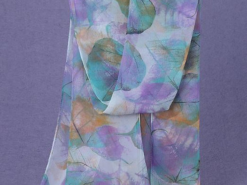 Cascading Leaves Scarf - Aqua & Purple