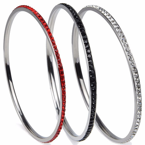 Crystal 1 Row Stainless Steel Bangle