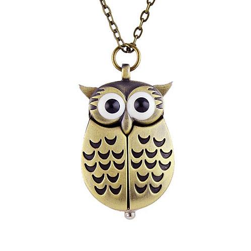 Antique Bronze Owl Small Pocket Watch