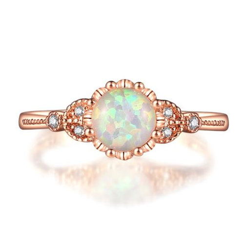 Rose Gold Fire Opal Solitaire