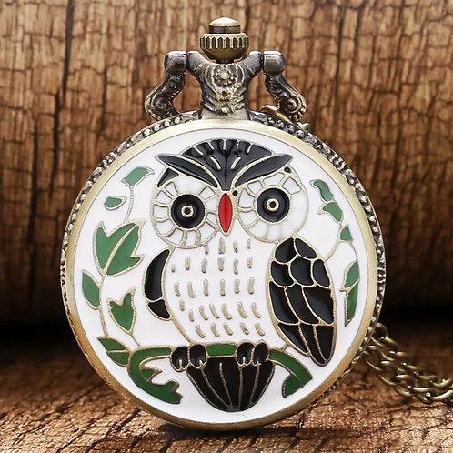 White Mosaic Owl Large Pocket Watch