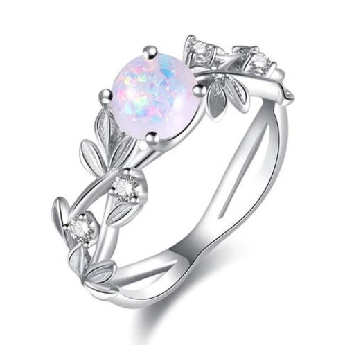 Opal & Leaves Stainless Steel Ring