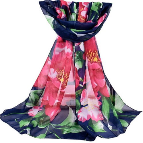 Navy with Pink Flowers