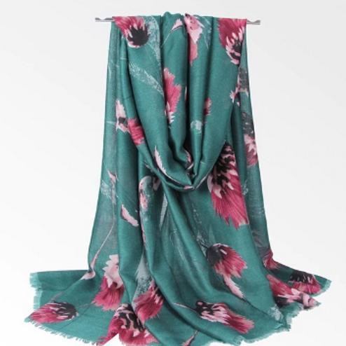Gardenia Print Scarf - Pine Green