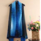 Flower Power - Sapphire Blue and Purple Ombre and Black Scarf Vest