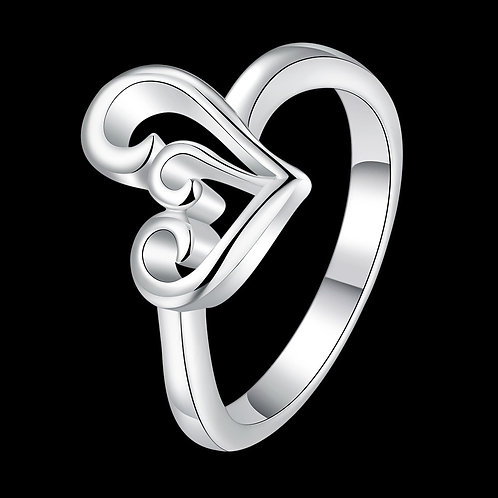 Curled Heart Ring