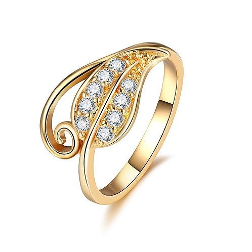 Golden Leaf Curl Ring