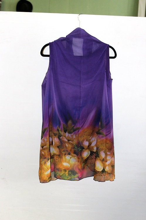 Purple with Yellow and Pink Floral Border Scarf Vest