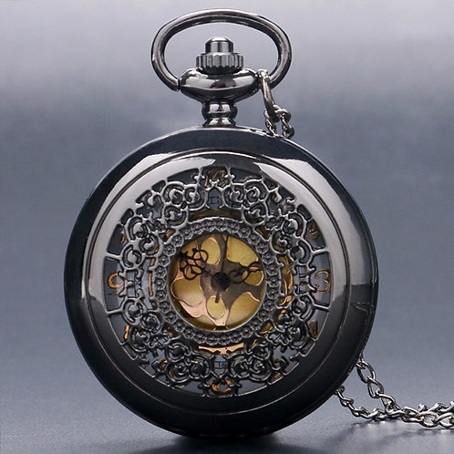 Black Lace & Gold Face Large Pocket Watch