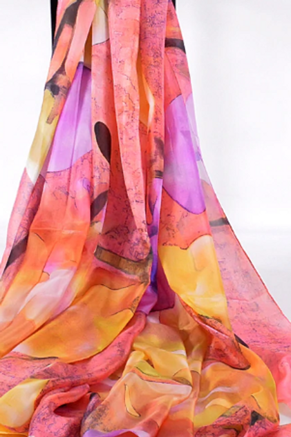 Muted Pink, Purple & Yellow Silk Scarf