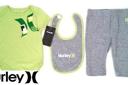 Hurley 嬰兒連身衣全套三件(0-3M/3-6M月)