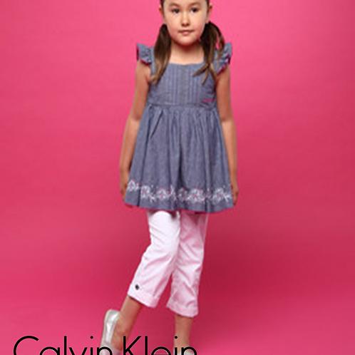 Calvin Klein 兒童兩件套裝 (白牛仔褲)