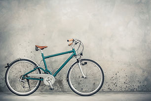 Retro bicycle with aged brown leather sa