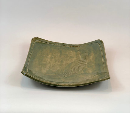 Green Square Plate with foot