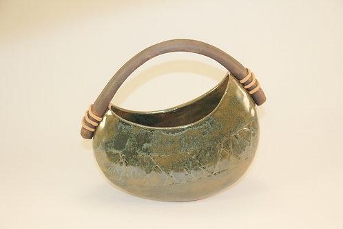 Green basket vase