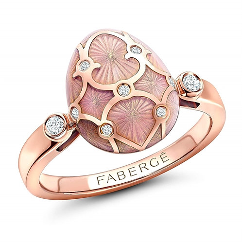 PALAIS 18K ROSE GOLD DIAMOND & PINK GUILLOCHÉ ENAMEL EGG RING