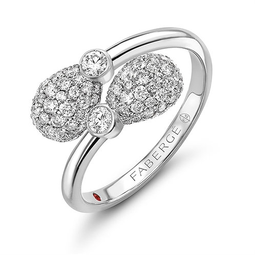 18K WHITE GOLD & DIAMOND ENCRUSTED EGGS CROSSOVER RING