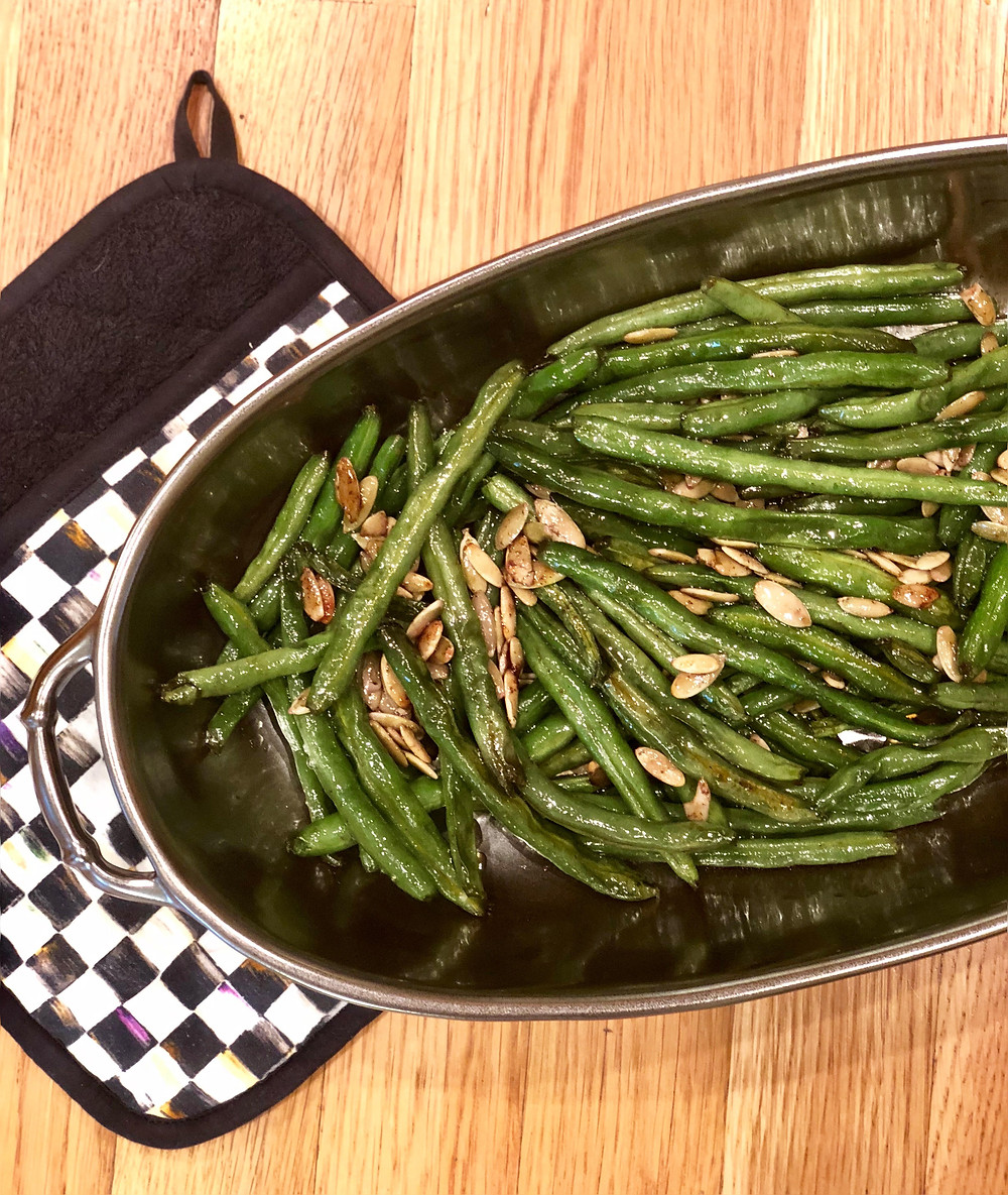 roasted sweet green beans with pure maple syrup and spices, low-fodmap, gluten-free, dairy-free. allergen-friendly