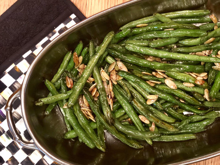 Holiday Side Dish: Sweet Maple Roasted Green Beans with Pumpkin Seeds, Cloves and Nutmeg