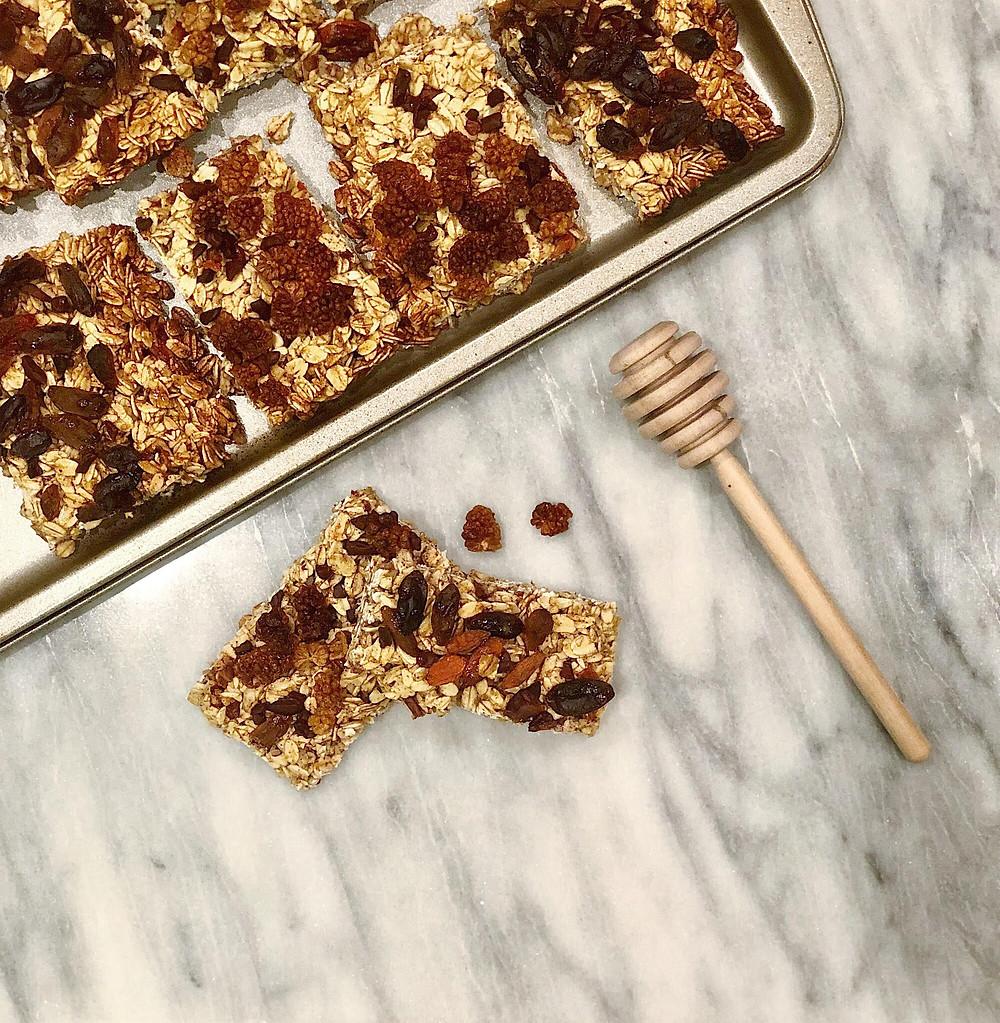 homemade gluten-free oat and honey energy bars