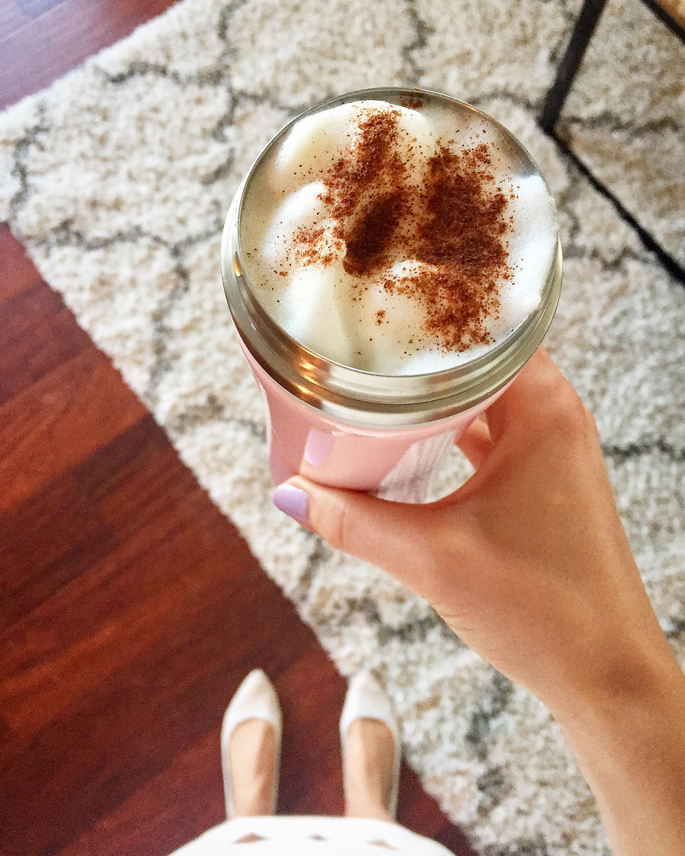homemade pumpkin spice latte with nespresso milk frother