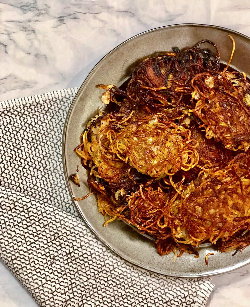 potato latkes made with russet and sweet potato and spiralized