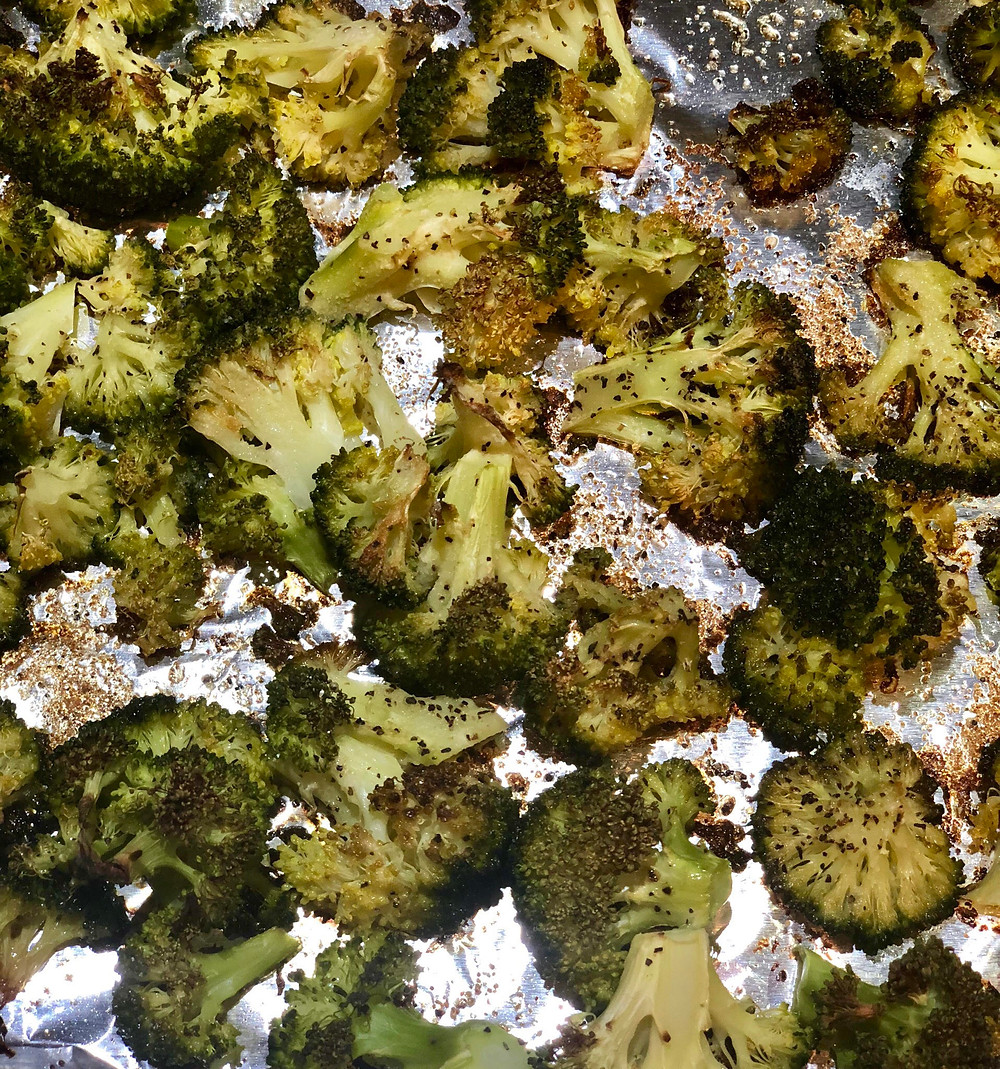crispy roasted broccoli fresh out of the oven
