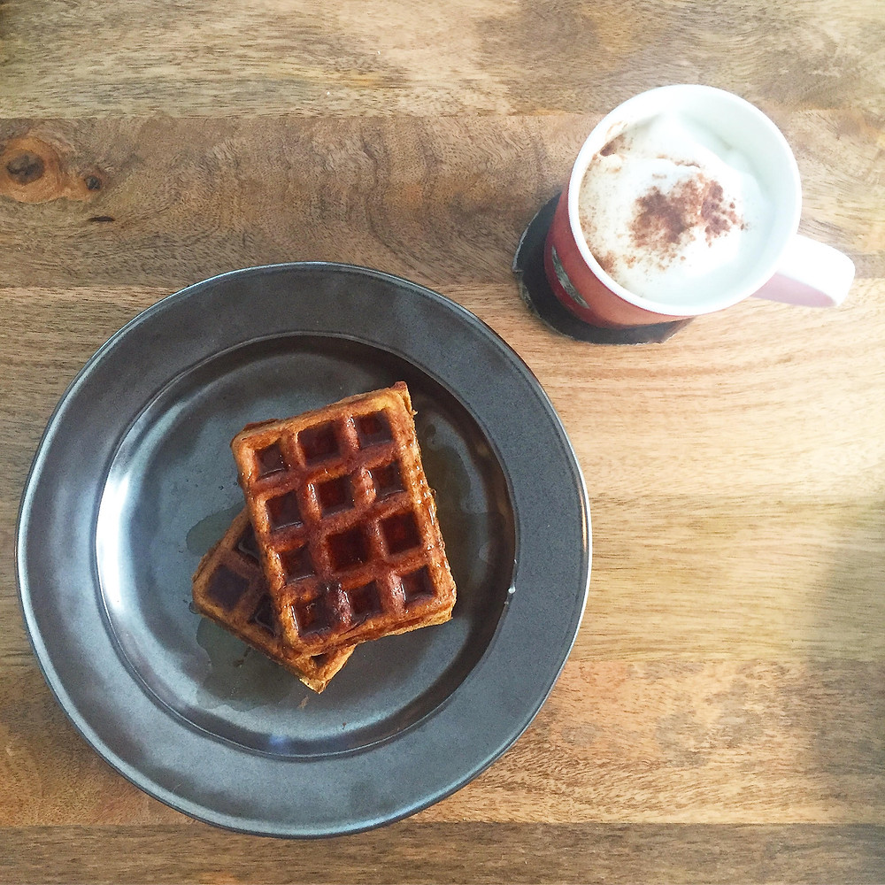 pumpkin spice waffles with latte