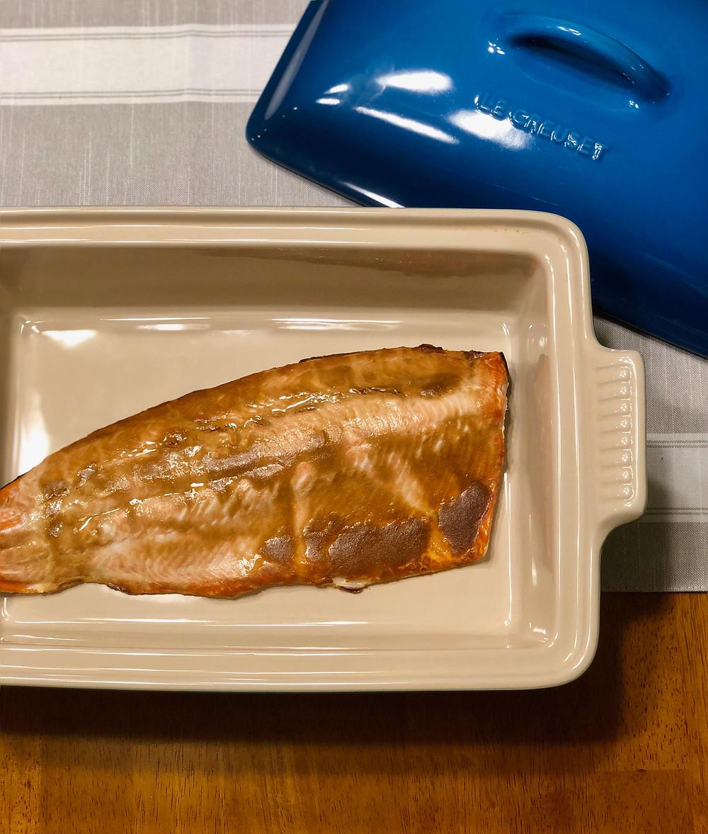 low FODMAP mustard baked salmon