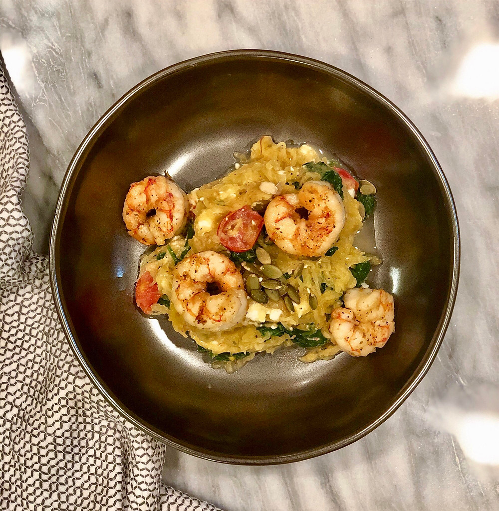 low-fodmap, gluten-free, spaghetti squash with sautéed shrimp and vegetables