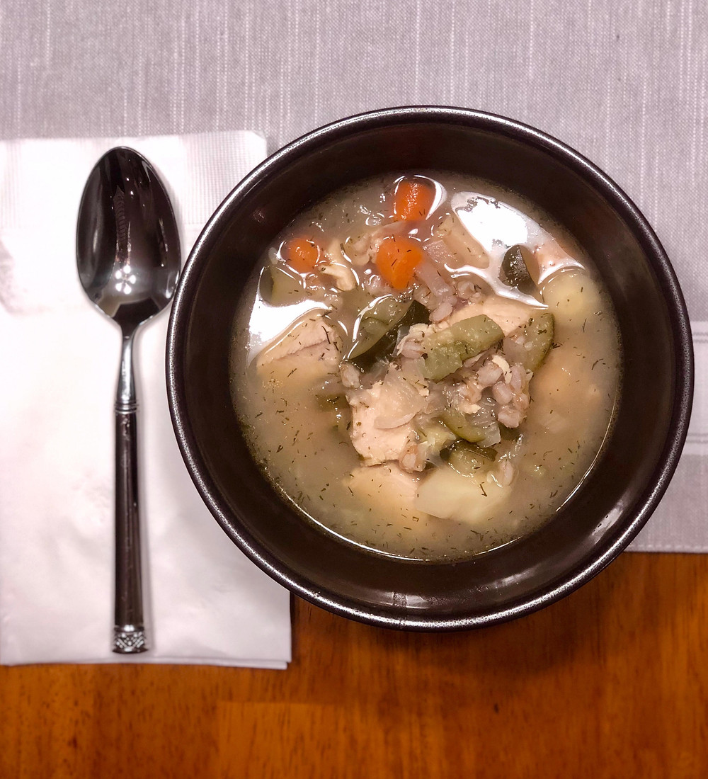 easy chicken soup with vegetables and farro