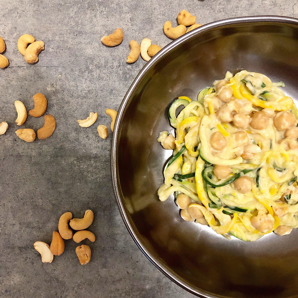 "vegan zoodles with garbanzo beans and cashew ""cream"" sauce"